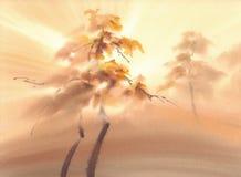Lumière d'automne dans le paysage d'aquarelle de forêt illustration stock