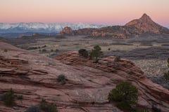 Lumière d'hiver de Predawn dans le pays de slickrock du ` s de l'Utah Images libres de droits