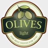 Lumière d'olives de collant d'étiquette de vecteur Photo libre de droits