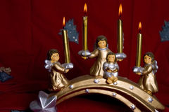 Lumière de bougie d'anges de Noël Photo libre de droits
