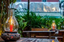 Lumière de bougie en verre Photo stock