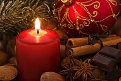 Lumière de Cadle avec la décoration de Noël Photos libres de droits