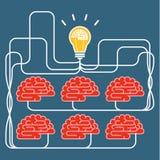Lumière de cerveau et d'ampoule Concept d'idée Photographie stock