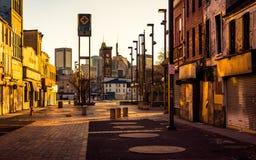 Lumière de coucher du soleil au vieux mail de ville, à Baltimore, le Maryland photographie stock libre de droits