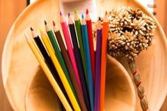 Lumière de couleur de crayon juste Images libres de droits