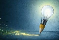 Lumière de dessin de Crayon-ampoule photo stock