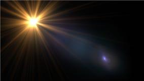 Lumière de fusée de lentille au-dessus de fond noir Facile d'ajouter le recouvrement Image stock