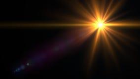 Lumière de fusée de lentille au-dessus de fond noir Facile d'ajouter le recouvrement Images libres de droits