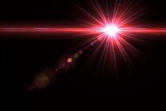 Lumière de fusée de lentille au-dessus de fond noir Facile d'ajouter le recouvrement ou le s Photos libres de droits