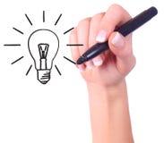 lumière de main de retrait d'ampoule Photographie stock libre de droits