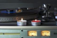 Lumière de musique et de bougie Photographie stock