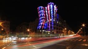 Lumière de nuit à Prague, maison de danse Image libre de droits