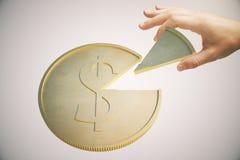 Lumière de pièce de monnaie du dollar Images libres de droits