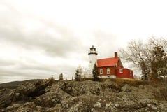 Lumière de port d'aigle, supérieur de lac, Michigan Images libres de droits