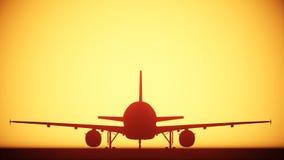 Lumière de silhouette d'avion d'air Photographie stock