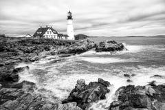 Lumière de tête de Portland noire et blanche Photographie stock libre de droits
