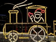 Lumière de train de Noël Photographie stock libre de droits
