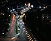 Lumière de ville avec des embouteillages Photo libre de droits