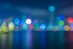 Lumière de ville de Hong Kong, effet de la lumière de bokeh de tache floue Photo stock