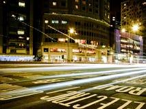 Lumière de ville de nuit de Hong Kong Images libres de droits