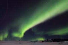 Lumière du nord très verte Photos libres de droits