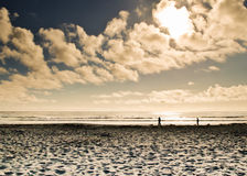 Lumière du soleil à la plage photo stock