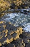 Lumière du soleil accentuant les dalles hexagonales de basalte de la chaussée de Giants Images libres de droits