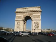 Lumière du soleil d'Arc de Triomphe Photos stock