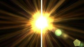 lumière du soleil d'or de l'éclat 4k avec la ligne de fibre de laser de rayon, future énergie de lumières de la science illustration libre de droits