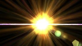 lumière du soleil d'or de l'éclat 4k avec la ligne de fibre de laser de rayon, future énergie de lumières de la science illustration de vecteur