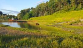 Lumière du soleil d'or sur l'étang et le flanc de coteau de Parkview Images libres de droits