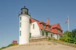 Lumière du soleil sur le phare de Betsie de point image libre de droits