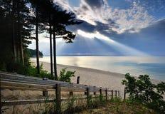 Lumière du soleil sur le stimulant Michigan de plage de mineurs Photographie stock libre de droits