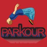 Lumière du vecteur art Parkour est un homme Flip Back illustration stock