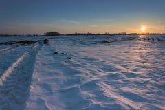 Lumière ensoleillée sur un grand champ neigeux avant coucher du soleil photos stock