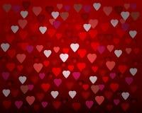 Lumière heureuse de coeurs de carte de Saint-Valentin Image stock