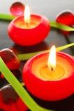 Lumière rouge de bougie Photo libre de droits