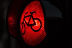Lumière rouge pour des bicyclettes Photo libre de droits