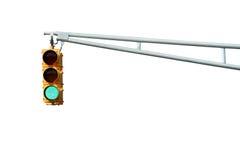 Lumière verte d'isolement de feux de signalisation Photographie stock