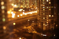 Lumières abstraites, éclair, ville de nuit Photographie stock