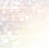 Lumières abstraites blanches de bokeh d'argent et d'or Fond Defocused photographie stock