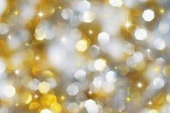 Lumières argentées et d'or de vacances Images libres de droits