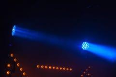 Lumières bleues de tache de LED, illumination d'étape image stock
