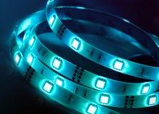 Lumières brillantes menées de diode bande images libres de droits