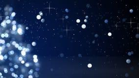 Lumières brouillées par bleu d'arbre de Noël Photo stock