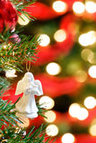 Lumières brouillées par ornement de Noël Photographie stock