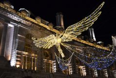 Lumières d'ange de Noël à Londres Photo stock