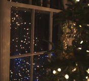 Lumières d'arbre de Noël Photos stock