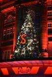 Lumières d'arbre de Noël de Galerie Lafayette Photos stock