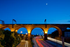 lumières d'arrière de viaduc de Stockport Images stock